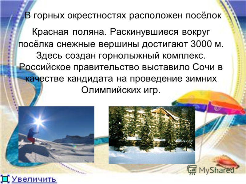 В горных окрестностях расположен посёлок Красная поляна. Раскинувшиеся вокруг посёлка снежные вершины достигают 3000 м. Здесь создан горнолыжный комплекс. Российское правительство выставило Сочи в качестве кандидата на проведение зимних Олимпийских и