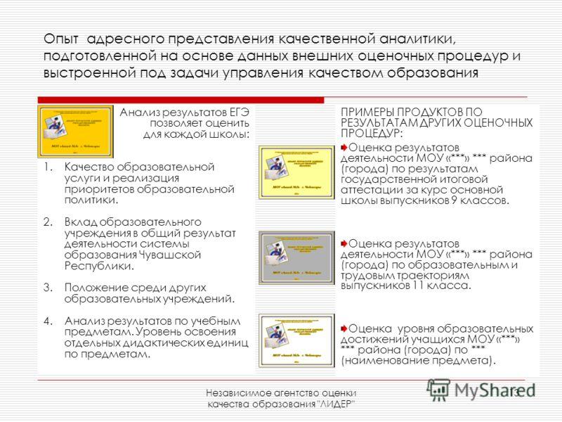 Независимое агентство оценки качества образования