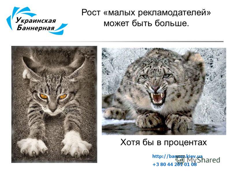 Рост «малых рекламодателей» может быть больше. Хотя бы в процентах http://banner.kiev.ua +3 80 44 201 01 08