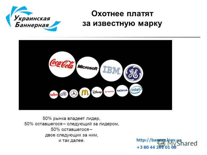 Охотнее платят за известную марку 50% рынка владеет лидер, 50% оставшегося – следующий за лидером, 50% оставшегося – двое следующих за ним, и так далее. http://banner.kiev.ua +3 80 44 201 01 08