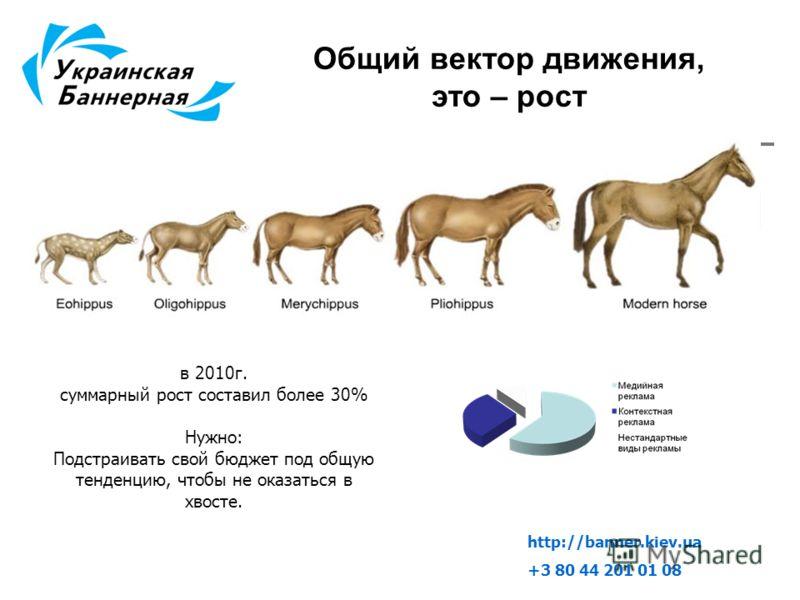 Общий вектор движения, это – рост в 2010г. суммарный рост составил более 30% Нужно: Подстраивать свой бюджет под общую тенденцию, чтобы не оказаться в хвосте. http://banner.kiev.ua +3 80 44 201 01 08