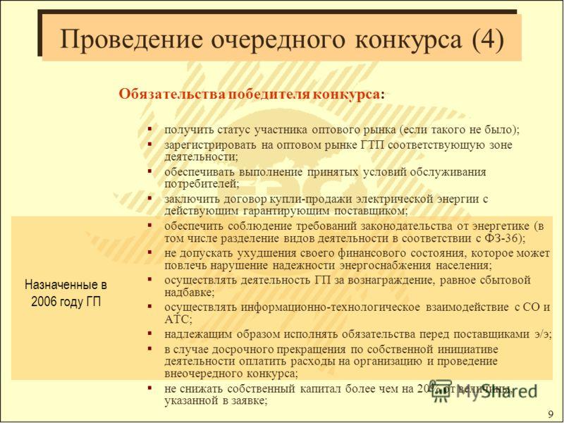 9 Проведение очередного конкурса (4) Обязательства победителя конкурса: получить статус участника оптового рынка (если такого не было); зарегистрировать на оптовом рынке ГТП соответствующую зоне деятельности; обеспечивать выполнение принятых условий