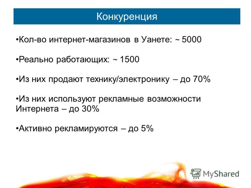 Конкуренция Кол-во интернет-магазинов в Уанете: ~ 5000 Реально работающих: ~ 1500 Из них продают технику/электронику – до 70% Из них используют рекламные возможности Интернета – до 30% Активно рекламируются – до 5%