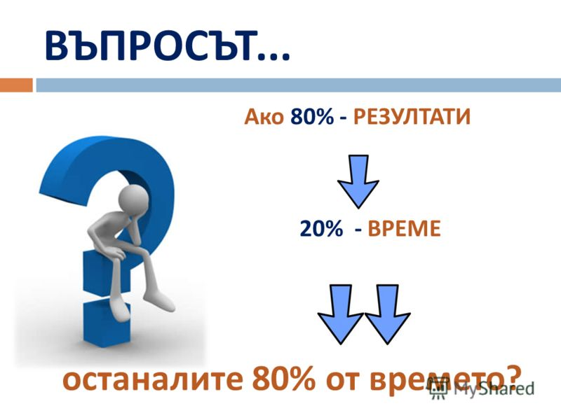 ВЪПРОСЪТ... Ако 80% - РЕЗУЛТАТИ 20% - ВРЕМЕ останалите 80% от времето ?
