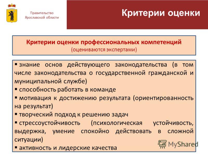 Правительство Ярославской области Критерии оценки Критерии оценки профессиональных компетенций (оцениваются экспертами) знание основ действующего законодательства (в том числе законодательства о государственной гражданской и муниципальной службе) спо