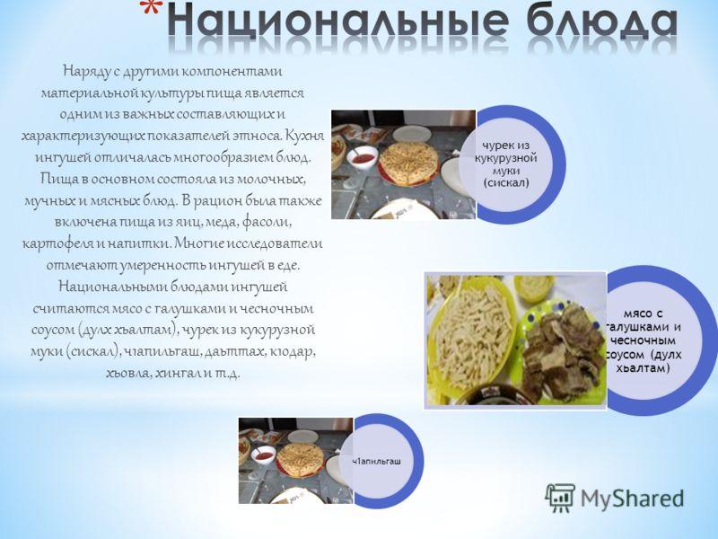 Наряду с другими компонентами материальной культуры пища является одним из важных составляющих и характеризующих показателей этноса. Кухня ингушей отличалась многообразием блюд. Пища в основном состояла из молочных, мучных и мясных блюд. В рацион был