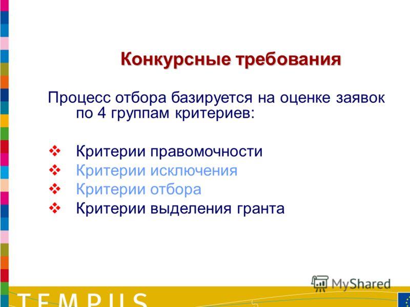 21 Процесс отбора базируется на оценке заявок по 4 группам критериев: Критерии правомочности Критерии исключения Критерии отбора Критерии выделения гранта Конкурсные требования