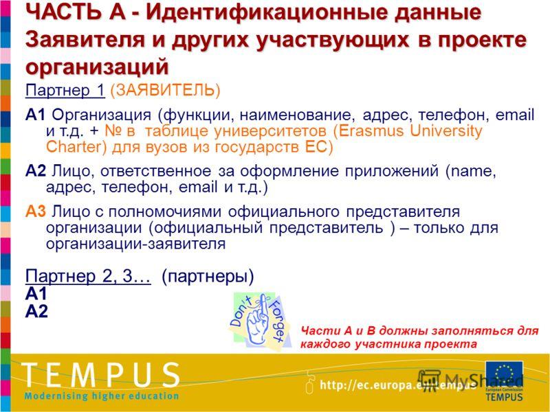 6 ЧАСТЬ A - Идентификационные данные Заявителя и других участвующих в проекте организаций Партнер 1 (ЗАЯВИТЕЛЬ) A1 Организация (функции, наименование, адрес, телефон, email и т.д. + в таблице университетов (Erasmus University Charter) для вузов из го