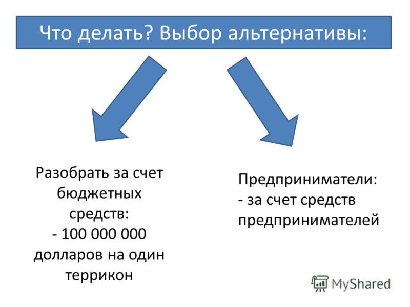 Разобрать за счет бюджетных средств: - 100 000 000 долларов на один террикон Предприниматели: - за счет средств предпринимателей Что делать? Выбор альтернативы:
