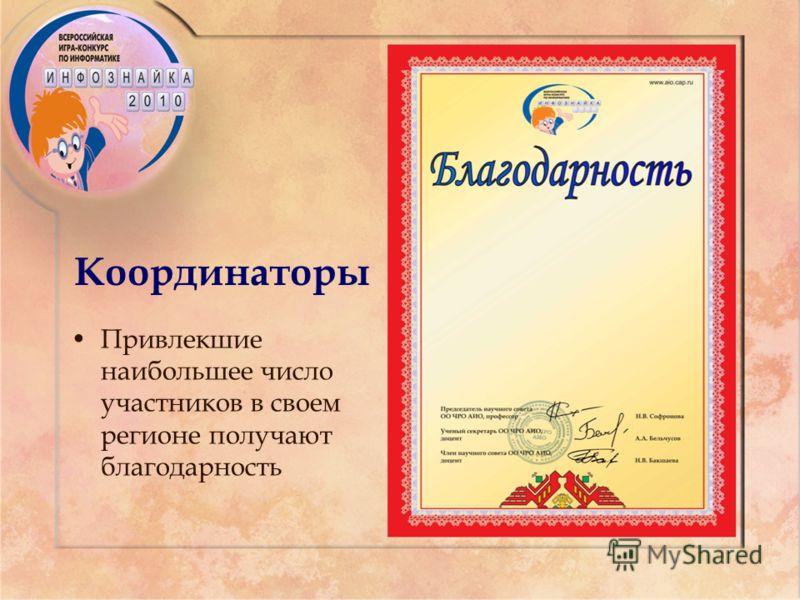 Координаторы Привлекшие наибольшее число участников в своем регионе получают благодарность