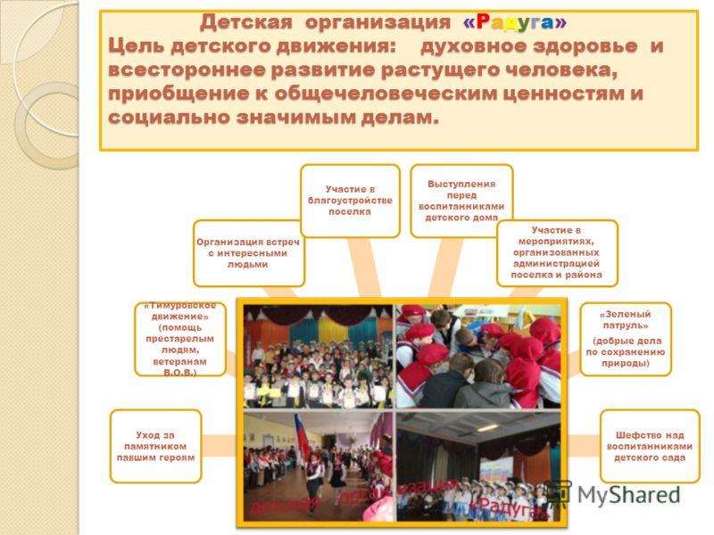 Детская организация «Радуга» Цель детского движения: духовное здоровье и всестороннее развитие растущего человека, приобщение к общечеловеческим ценностям и социально значимым делам. Детская организация «Радуга» Цель детского движения: духовное здоро