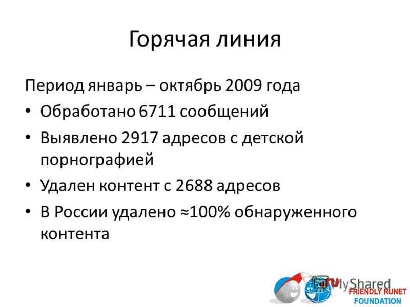 Горячая линия Период январь – октябрь 2009 года Обработано 6711 сообщений Выявлено 2917 адресов с детской порнографией Удален контент с 2688 адресов В России удалено 100% обнаруженного контента