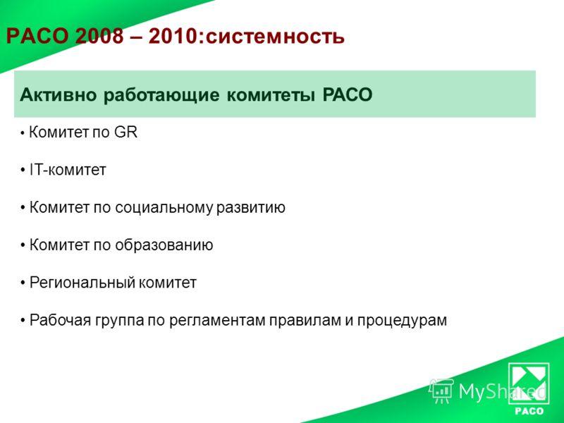 РАСО 2008 – 2010:системность Активно работающие комитеты РАСО Комитет по GR IT-комитет Комитет по социальному развитию Комитет по образованию Региональный комитет Рабочая группа по регламентам правилам и процедурам