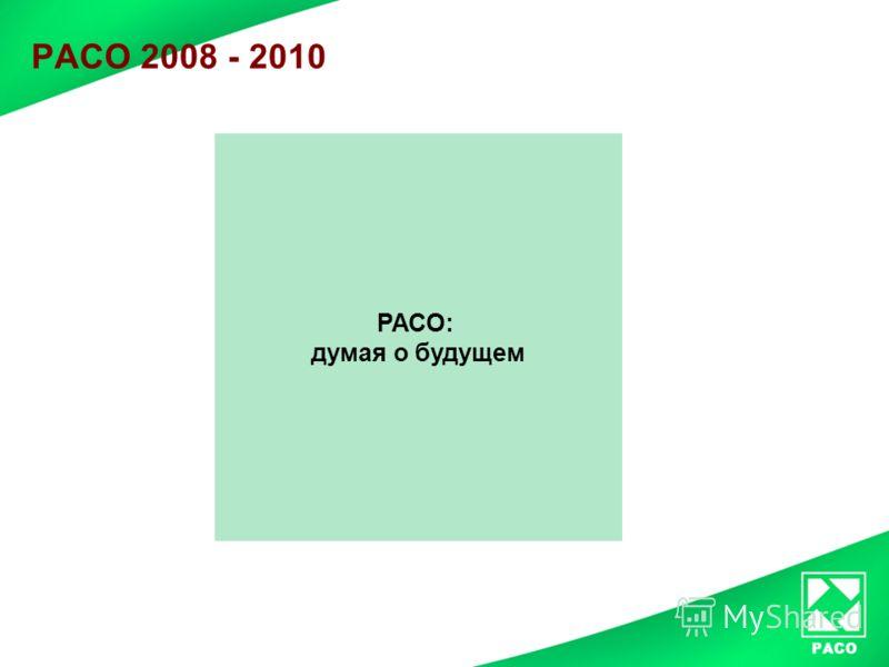 РАСО 2008 - 2010 РАСО: думая о будущем