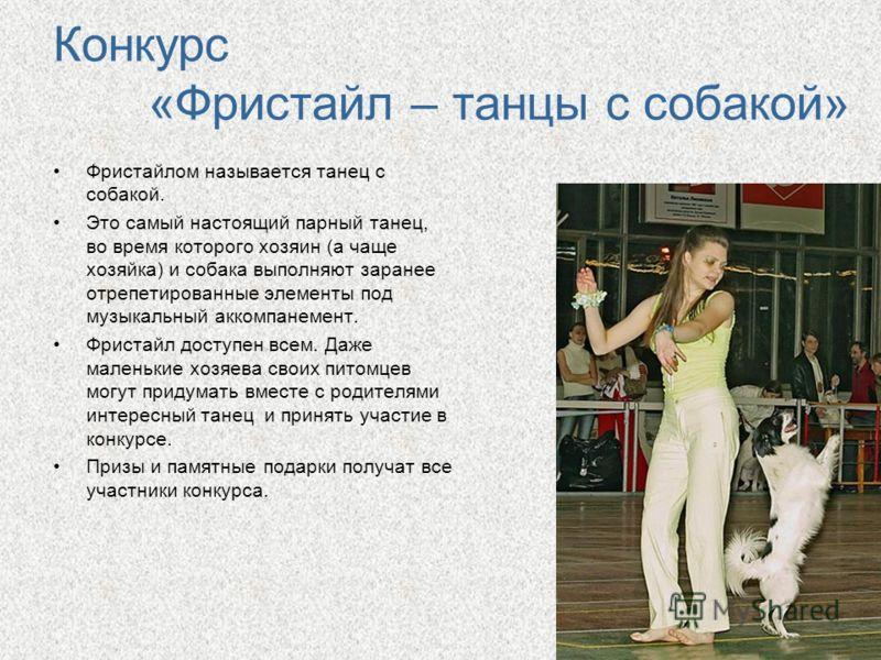 Конкурс «Фристайл – танцы с собакой» Фристайлом называется танец с собакой. Это самый настоящий парный танец, во время которого хозяин (а чаще хозяйка) и собака выполняют заранее отрепетированные элементы под музыкальный аккомпанемент. Фристайл досту