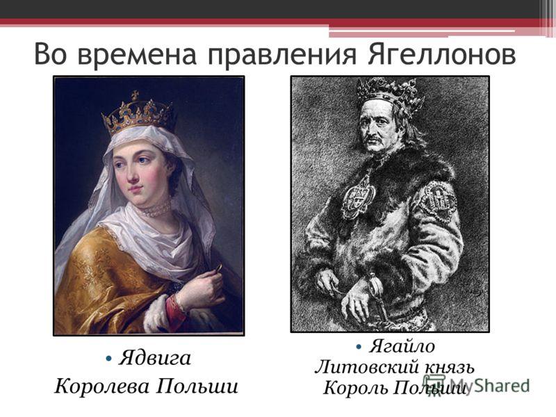 Во времена правления Ягеллонов Ядвига Королева Польши Ягайло Литовский князь Король Польши