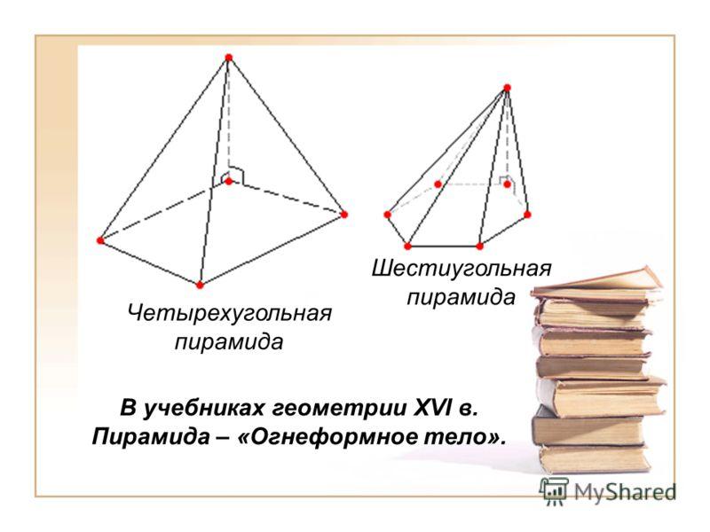 В учебниках геометрии XVI в. Пирамида – «Огнеформное тело». Четырехугольная пирамида Шестиугольная пирамида
