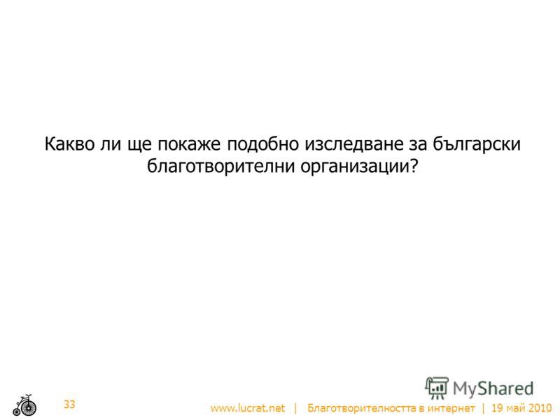 www.lucrat.net | Благотворителността в интернет | 19 май 2010 Какво ли ще покаже подобно изследване за български благотворителни организации? 33