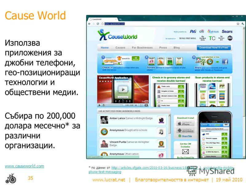 www.lucrat.net | Благотворителността в интернет | 19 май 2010 Cause World Използва приложения за джобни телефони, гео-позициониращи технологии и обществени медии. Събира по 200,000 долара месечно* за различни организации. www.causeworld.com 35 * по д