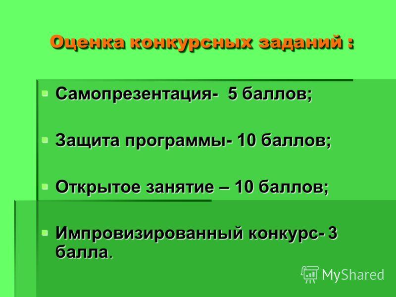Оценка конкурсных заданий : Самопрезентация- 5 баллов; Самопрезентация- 5 баллов; Защита программы- 10 баллов; Защита программы- 10 баллов; Открытое занятие – 10 баллов; Открытое занятие – 10 баллов; Импровизированный конкурс- 3 балла. Импровизирован
