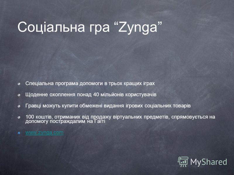 Соціальна гра Zynga Спеціальна програма допомоги в трьох кращих іграх Щоденне охоплення понад 40 мільйонів користувачів Гравці можуть купити обмежені видання ігрових соціальних товарів 100 коштів, отриманих від продажу віртуальних предметів, спрямову