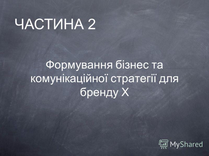 Формування бізнес та комунікаційної стратегії для бренду X ЧАСТИНА 2
