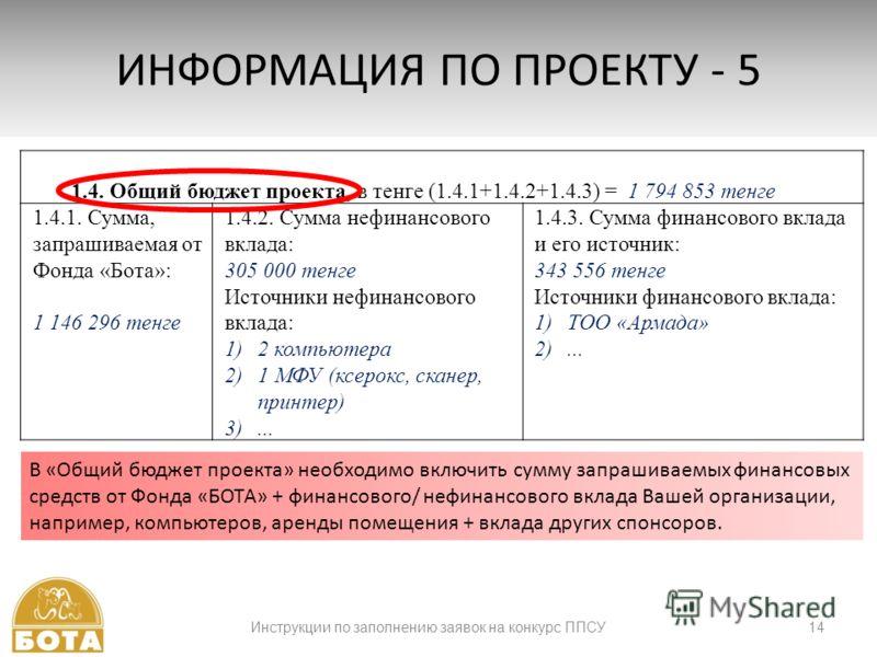 Инструкции по заполнению заявок на конкурс ППСУ14 ИНФОРМАЦИЯ ПО ПРОЕКТУ - 5 1.4. Общий бюджет проекта, в тенге (1.4.1+1.4.2+1.4.3) = 1 794 853 тенге 1.4.1. Сумма, запрашиваемая от Фонда «Бота»: 1 146 296 тенге 1.4.2. Сумма нефинансового вклада: 305 0