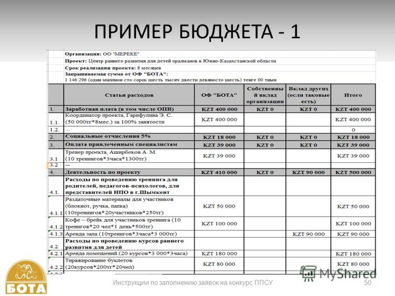 50 ПРИМЕР БЮДЖЕТА - 1 Инструкции по заполнению заявок на конкурс ППСУ