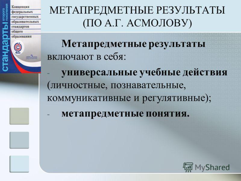 МЕТАПРЕДМЕТНЫЕ РЕЗУЛЬТАТЫ (ПО А.Г. АСМОЛОВУ) Метапредметные результаты включают в себя: - универсальные учебные действия (личностные, познавательные, коммуникативные и регулятивные); - метапредметные понятия.