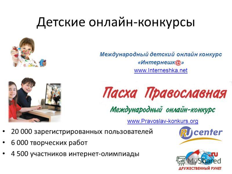 Детские онлайн-конкурсы Международный детский онлайн конкурс «Интернешк@» www.Interneshka.net www.Pravoslav-konkurs.org 20 000 зарегистрированных пользователей 6 000 творческих работ 4 500 участников интернет-олимпиады