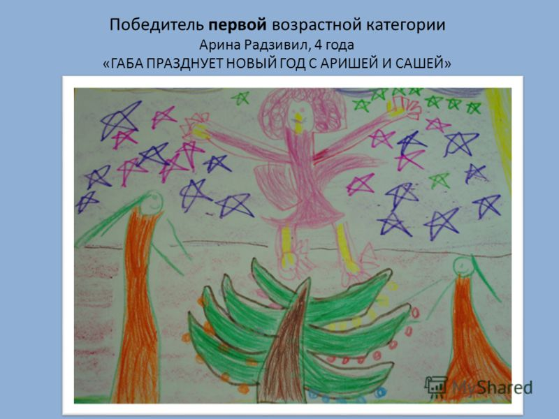 Победитель первой возрастной категории Арина Радзивил, 4 года «ГАБА ПРАЗДНУЕТ НОВЫЙ ГОД С АРИШЕЙ И САШЕЙ»