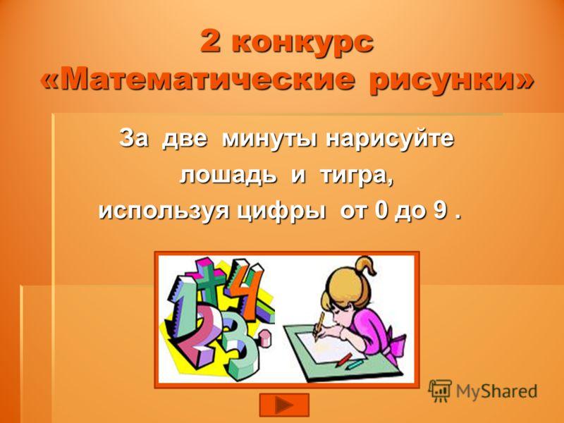2 конкурс «Математические рисунки» За две минуты нарисуйте За две минуты нарисуйте лошадь и тигра, лошадь и тигра, используя цифры от 0 до 9.