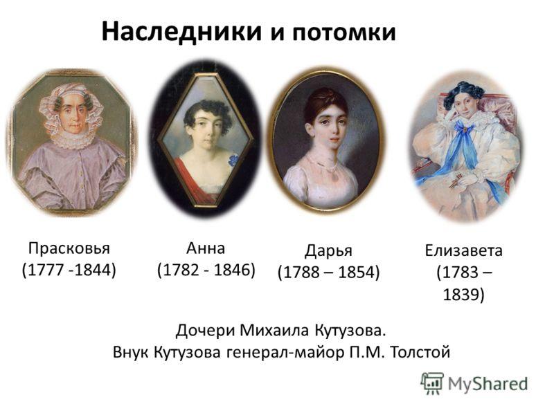 Наследники и потомки Дочери Михаила Кутузова. Внук Кутузова генерал-майор П.М. Толстой Прасковья (1777 -1844) Анна (1782 - 1846) Елизавета (1783 – 1839) Дарья (1788 – 1854)