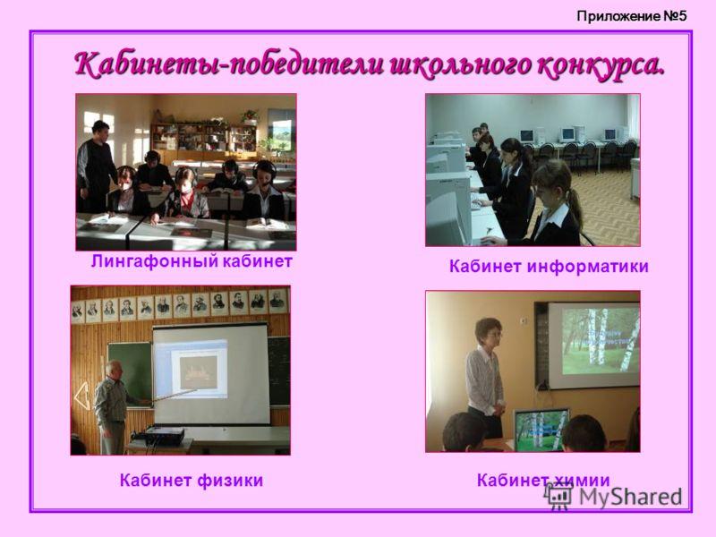 Кабинеты-победители школьного конкурса. Лингафонный кабинет Кабинет информатики Кабинет физикиКабинет химии Приложение 5