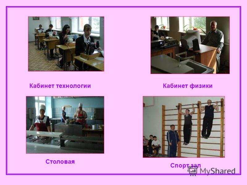 Кабинет технологииКабинет физики Столовая Спорт зал