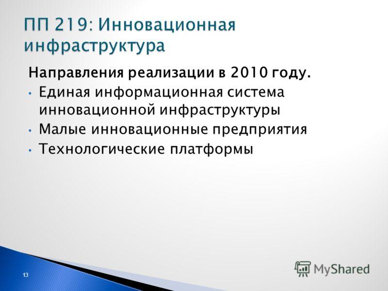 13 Направления реализации в 2010 году. Единая информационная система инновационной инфраструктуры Малые инновационные предприятия Технологические платформы