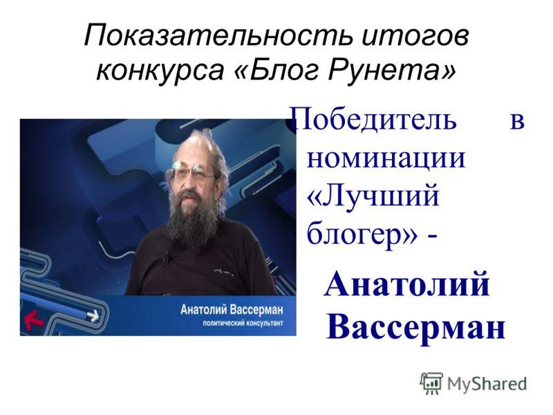 Показательность итогов конкурса «Блог Рунета» Победитель в номинации «Лучший блогер» - Анатолий Вассерман