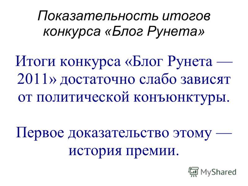 Показательность итогов конкурса «Блог Рунета» Итоги конкурса «Блог Рунета 2011» достаточно слабо зависят от политической конъюнктуры. Первое доказательство этому история премии.