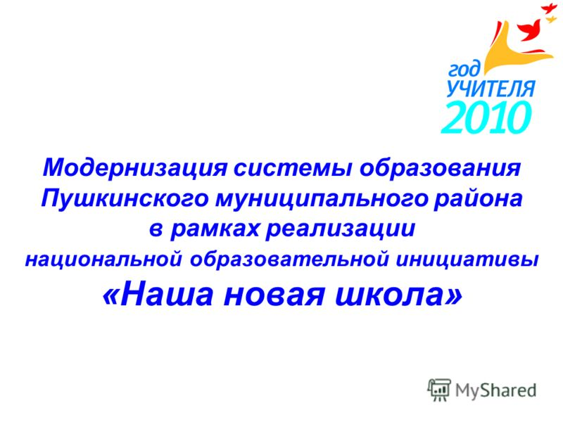 Модернизация системы образования Пушкинского муниципального района в рамках реализации национальной образовательной инициативы «Наша новая школа»