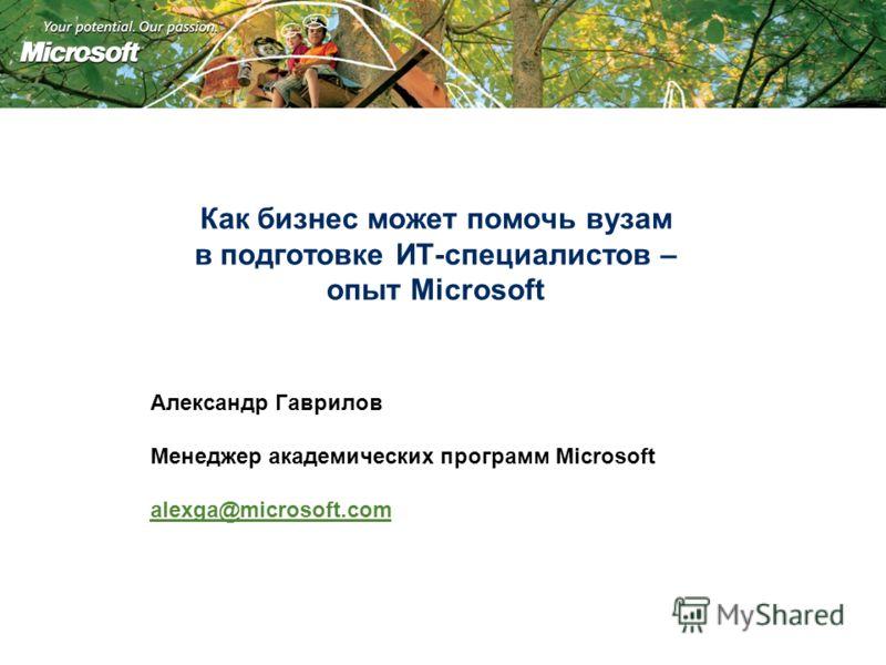 Как бизнес может помочь вузам в подготовке ИТ-специалистов – опыт Microsoft Александр Гаврилов Менеджер академических программ Microsoft alexga@microsoft.com