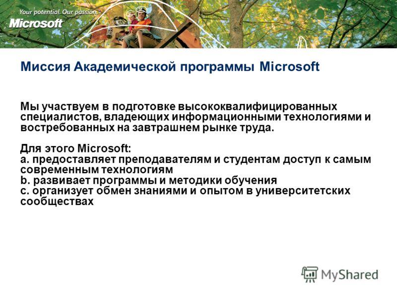 Миссия Академической программы Microsoft Мы участвуем в подготовке высококвалифицированных специалистов, владеющих информационными технологиями и востребованных на завтрашнем рынке труда. Для этого Microsoft: a. предоставляет преподавателям и студент