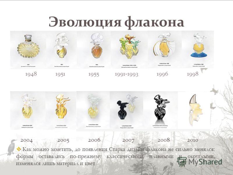 Эволюция флакона 1948 1951 1955 1991-1993 1996 1998 2004 2005 2006 2007 2008 2010 Как можно заметить, до появления Старка дизайн флакона не сильно менялся: формы оставались по-прежнему классическими, плавными и округлыми, изменялся лишь материал и цв