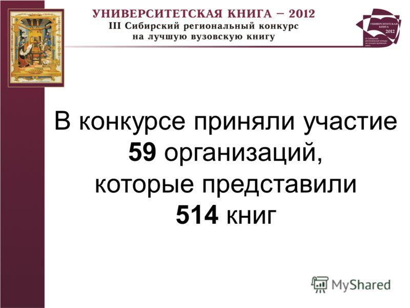 В конкурсе приняли участие 59 организаций, которые представили 514 книг