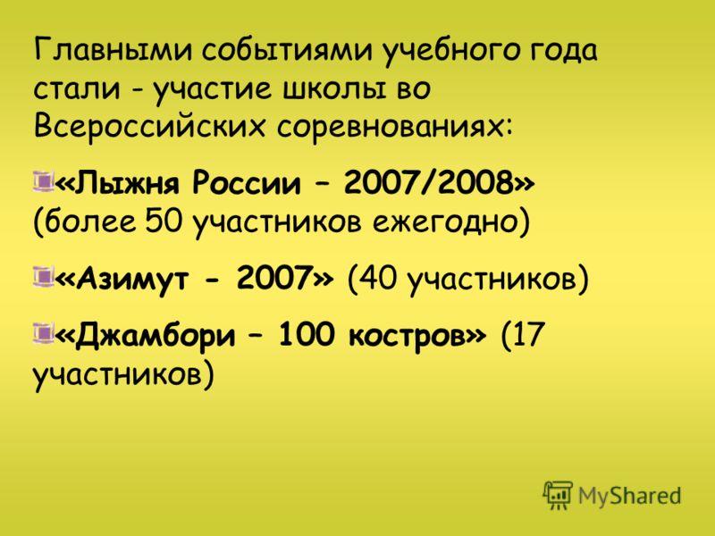 Главными событиями учебного года стали - участие школы во Всероссийских соревнованиях: «Лыжня России – 2007/2008» (более 50 участников ежегодно) «Азимут - 2007» (40 участников) «Джамбори – 100 костров» (17 участников)