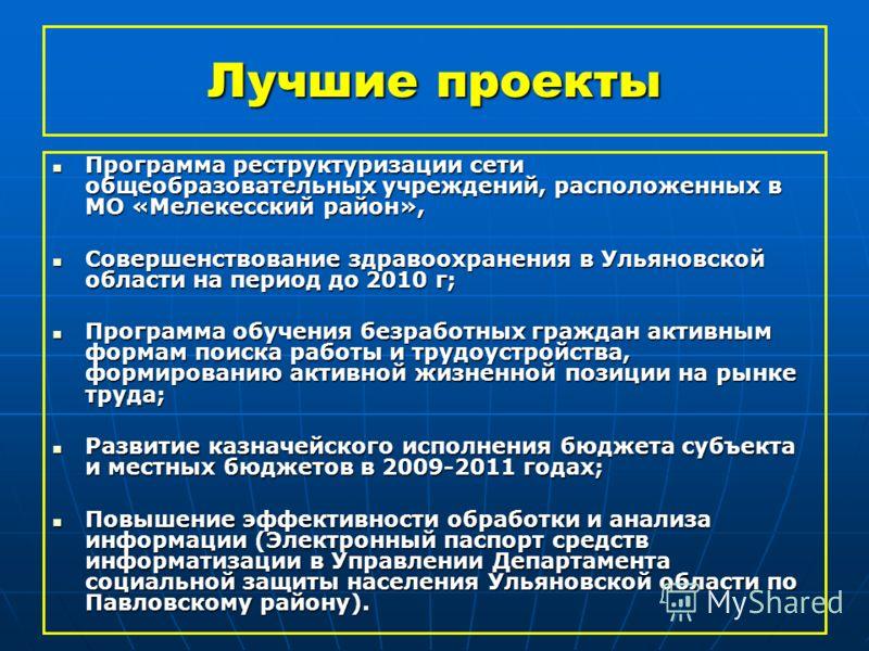 Лучшие проекты Программа реструктуризации сети общеобразовательных учреждений, расположенных в МО «Мелекесский район», Программа реструктуризации сети общеобразовательных учреждений, расположенных в МО «Мелекесский район», Совершенствование здравоохр
