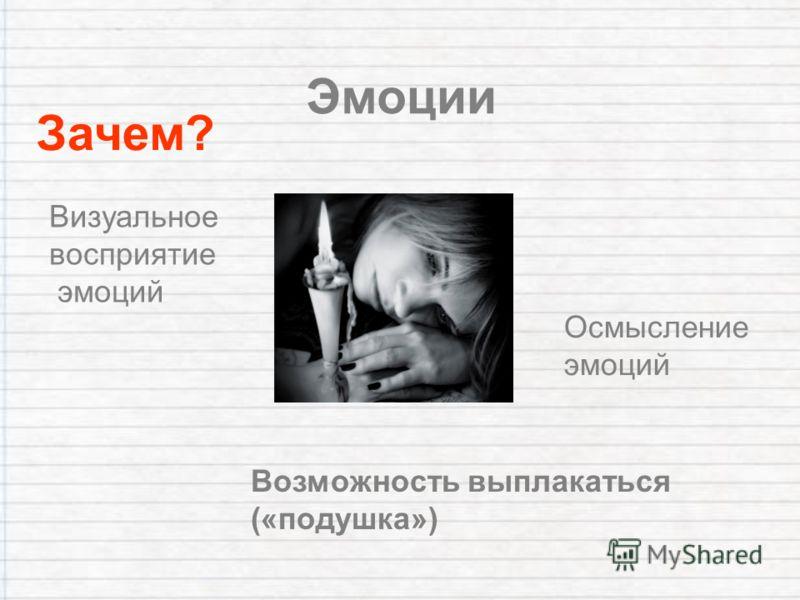 Эмоции Зачем? Возможность выплакаться («подушка») Осмысление эмоций Визуальное восприятие эмоций