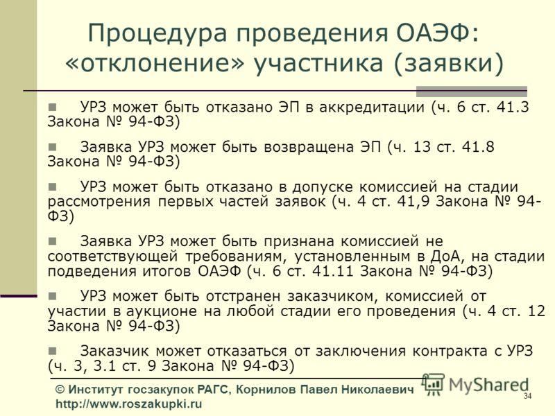 34 © Институт госзакупок РАГС, Корнилов Павел Николаевич http://www.roszakupki.ru Процедура проведения ОАЭФ: «отклонение» участника (заявки) УРЗ может быть отказано ЭП в аккредитации (ч. 6 ст. 41.3 Закона 94-ФЗ) Заявка УРЗ может быть возвращена ЭП (ч