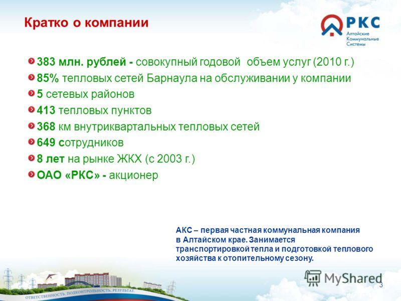 3 Кратко о компании АКС – первая частная коммунальная компания в Алтайском крае. Занимается транспортировкой тепла и подготовкой теплового хозяйства к отопительному сезону. 383 млн. рублей - совокупный годовой объем услуг (2010 г.) 85% тепловых сетей