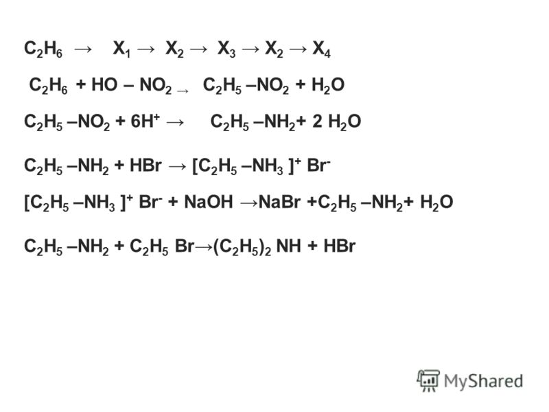 C 2 H 6 X 1 X 2 X 3 X 2 X 4 C 2 H 6 + HO – NO 2 C 2 H 5 –NO 2 + H 2 O C 2 H 5 –NO 2 + 6H + C 2 H 5 –NH 2 + 2 H 2 O C 2 H 5 –NH 2 + HBr [C 2 H 5 –NH 3 ] + Br - [C 2 H 5 –NH 3 ] + Br - + NaOH NaBr +C 2 H 5 –NH 2 + H 2 O C 2 H 5 –NH 2 + C 2 H 5 Br(C 2 H