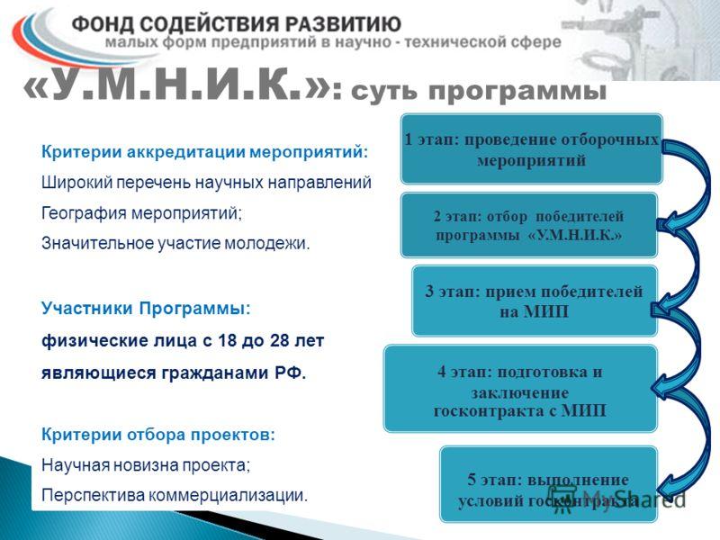 «У.М.Н.И.К.» : суть программы Критерии аккредитации мероприятий: Широкий перечень научных направлений География мероприятий; Значительное участие молодежи. Участники Программы: физические лица с 18 до 28 лет являющиеся гражданами РФ. Критерии отбора